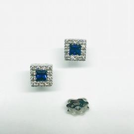 Mirco visconti orecchini quadrati zaffiri blu e brillanti