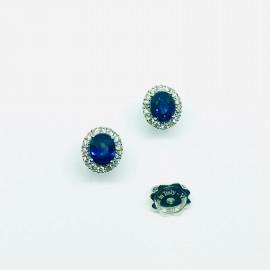 Mirco visconti orecchini ovali zaffiro blu e brill