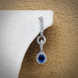 Di.fi orecchini pendenti con goccia in zaffiro blu e brillanti