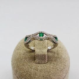 Di.fi anello fantasia con 3 smeraldi e brillanti