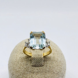 Di.fi anello con acquamarina e brillanti