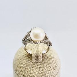 Di.fi anello onda con perla e brillanti