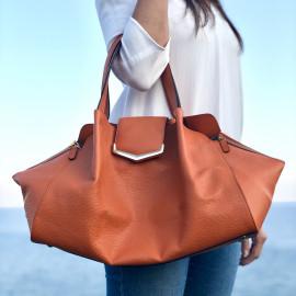 Locman pelletteria borsa shopping in pelle color arancio