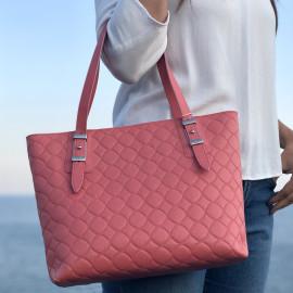 Locman pelletteria borsa shopping piccola in saffiano color rosa corallo