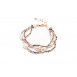 Kikilia bracciale a tre fili ematite e perle