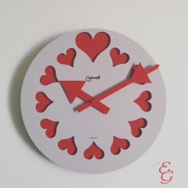 Lowell orologio da parete con cuori rossi 37 cm