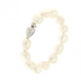 Genesia bracciale di perle freshwater bianche